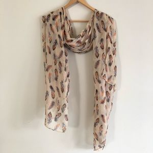 Spun Scarves Feather Print Sheer Wrap Tank Pink